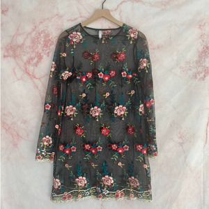 Xhilarations Mesh Floral Embroidered Dress